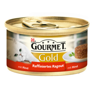 12 x 85g Gourmet Katzenfutter Gold Raffiniertes Ragout Rind (Multipack)