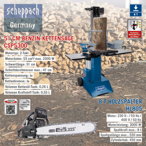 Scheppach XXL Holz-Kombi Paket, 8T - Holzspalter HL805, 230V + Benzin-Kettensäge CSP5300