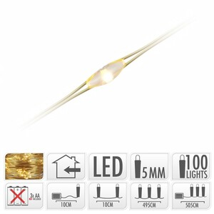Haardraht Beleuchtung 100 LED Golddraht warmweiß