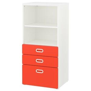 STUVA / FRITIDS                                Bücherregal mit Schubladen, weiß, rot, 60x50x128 cm
