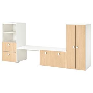 STUVA / FÖLJA                                Aufbewahrung mit Bank, weiß, Birke, 300x50x128 cm