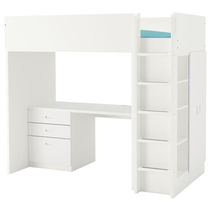 STUVA / FRITIDS                                Hochbettkomb. 3 Schubl./2 Türen, weiß, weiß, 207x99x182 cm