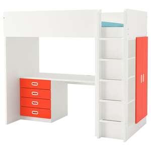 STUVA / FRITIDS                                Hochbettkomb. 4 Schubl./2 Türen, weiß, rot, 207x99x182 cm