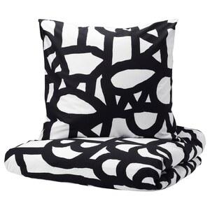 SKUGGBRÄCKA                                Bettwäscheset, 2-teilig, weiß, schwarz, 140x200/80x80 cm