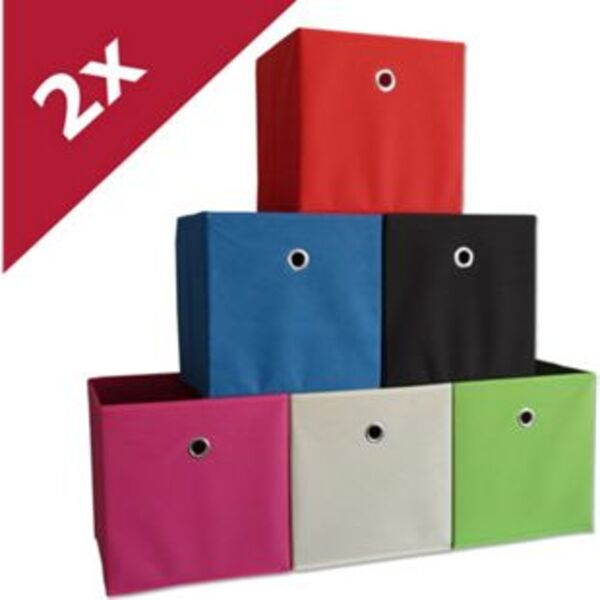 """VCM 2er Set Faltbox Klappbox Sammelbox Stoffbox Regalbox Regalkorb Korb """"Boxas"""""""