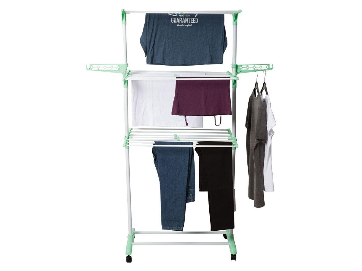 Bild 2 von AQUAPUR® Wäscheständer, mit Kleinteilehalter, 3 beidseitig klappbare Etagen, mit Rollen