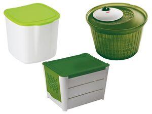 ERNESTO® Kartoffelaufbewahrungs-Box/Salatschleuder/Bio-Müllbehälter, spülmaschinengeeignet