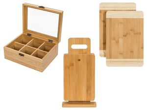ERNESTO® Teebox/ Schneidebretter/ Brettchen-Set, aus Bambus