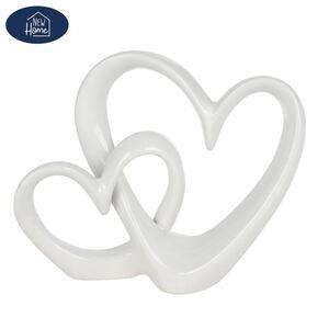 Keramik-Deko Herz 27x7x21,5cm Weiß