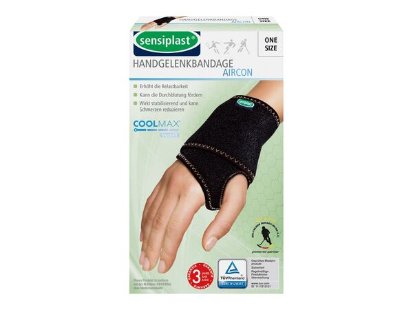 SENSIPLAST® Sportbandage Handgelenk, verringertes Verletzungsrisiko, Feuchtigkeitsausgleich