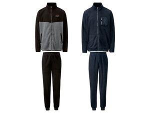 LIVERGY® Jogginganzug, 2-teilig, aus Fleece, Jacke mit Stehkragen, Hose mit Bindeband