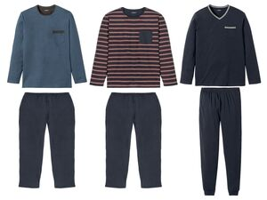 LIVERGY® Pyjama Herren, aus Baumwolle, Hose mit Gummizugbund und Eingrifftaschen