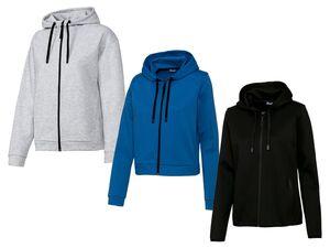 CRIVIT® Sweatjacke Damen, Kapuze mit Kordelzug, seitliche Eingrifftaschen, mit Baumwolle