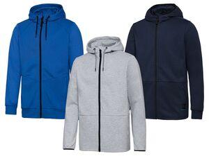 CRIVIT® Sweatjacke Herren, Fitness, seitliche Reißverschlusstaschen, mit Baumwolle