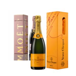 Champagner Veuve Clicquot Brut oder Moët & Chandon Rosé Impérial Brut
