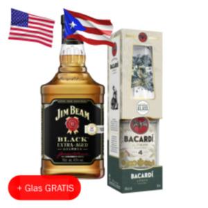 Schladerer Kirschwasser, Bacardi Añejo Cuatro Rum oder Jim Beam Black Whiskey