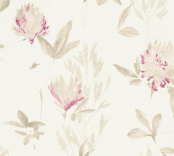 A.S. Creation Vliestapete Designdschungel by Laura N.- beige metallic violett - Blumen - 10 Meter