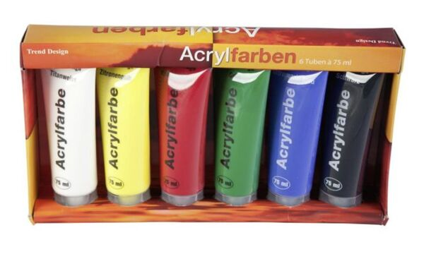 Acrylfarbenset - 6 Tuben à 75 ml