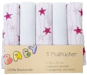 Mulltücher - aus Baumwolle - 70 x 70 cm - 5 Stück - rosa