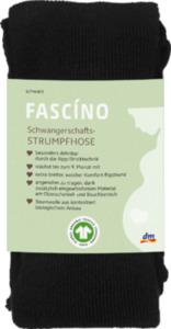FASCÍNO Schwangerschafts-Strumpfhose, mit Bio-Baumwolle, Gr. 46/48, schwarz