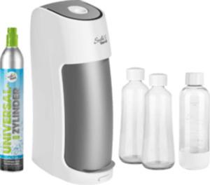 Soda Trend Wassersprudler ST2-G100, inklusive 1 PET-Flasche + 2 Glas-Flaschen + 1 CO2-Zylinder, weiß/grau