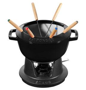 Staub Fondue-Set, bestehend aus: Fonduetopf, ø 20 cm und Rechaud aus Gusseisen, inklusive 6 Fonduegabeln, Brenner Brennpaste, schwarz