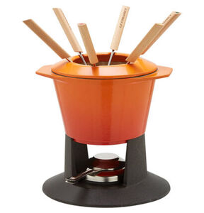 "Le Creuset Fondue-Set ""Gourmand"", emailliertes Gusseisen, in Ofenrot, orange"