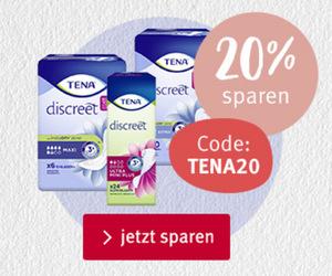20% Rabatt auf alle Produkte der Marke Tena