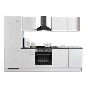 Küchenblock - weiß-anthrazit - mit E-Geräten - 280 cm
