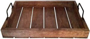 Tablett mit Metallgriffen - aus Holz - 45,5 x 30 x 7,5 cm - in natur