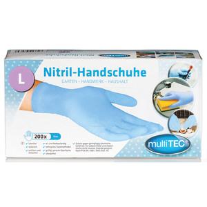 Multitec Nitril-Einweghandschuhe, Blau, Größe L - 200er Set