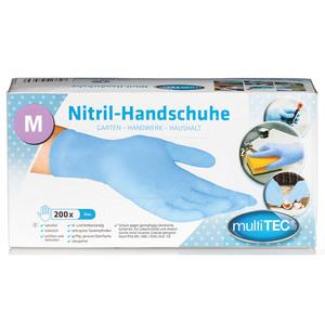 Multitec Nitril-Einweghandschuhe, Blau, Größe M - 200er Set