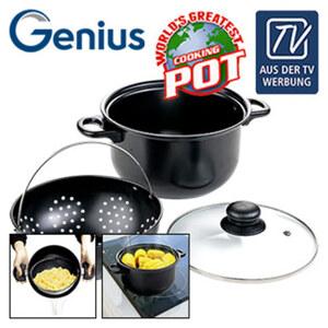 World's Greatest Pot - Kochtopf mit beweglichem und herausnehmbaren Sieb - Perfekt für Nudeln, Kartoffeln, Mais, Eier, Gemüse u.v.m. - Sicheres und schnelles Abgießen - schonendes Garen