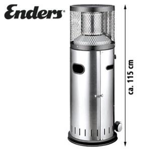 Edelstahl-Gas-Heizstrahler • Leistung : 3-6 kW stufenlos regelbar • Brenndauer bei Vollast ( 11 kg Flasche ) : 25 h • Piezo-Zündung • inkl. Gasdruckregler und Schlauch