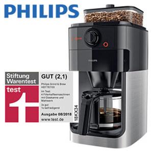Kaffeeautomat HD 7667/00 Grind & Brew · integriertes Mahlwerk  · auch für gemahlenen Kaffee geeignet  · automatische Abschaltung nach 30 min.