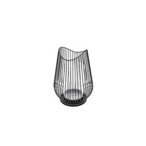 Windlicht S Metall in Schwarz 12 x 12 x 17,5 cm
