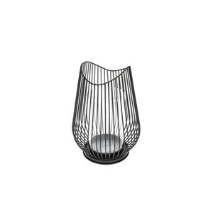 Windlicht M Metall in Schwarz 17 x 17 x 23,5 cm