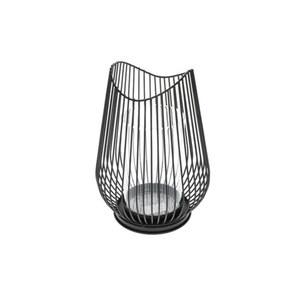 Windlicht L Metall in Schwarz 24 x 24 x 31 cm
