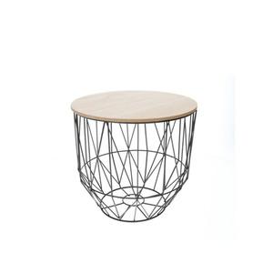 Tisch mit Metallkorb in Schwarz und Holzdeckel 24 x 24 x 23 cm (Größe: S)