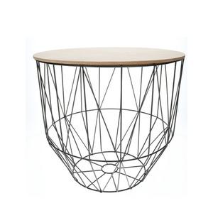 Tisch mit Metallkorb in Schwarz und Holzdeckel 35 x 35 x 33 cm (Größe: L)