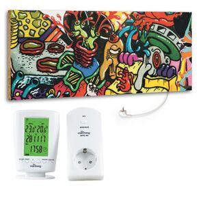 """Marmony 800W Infrarot-Heizung Motiv """"Graffiti"""" mit Thermostat MTC-40"""