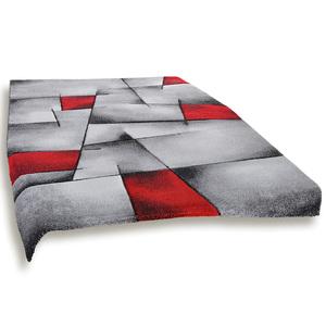Frisee-Teppich - grau-rot - 160x230 cm