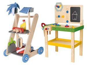 PLAYTIVE® JUNIOR Holzspielzeug Werkbank/Putzwagen