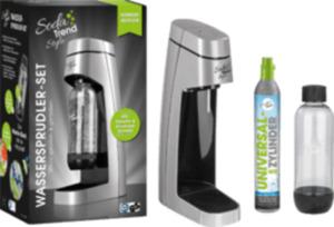 Soda Trend Wassersprudler Style, inklusive PET-Flasche + 1 CO2-Zylinder, silber