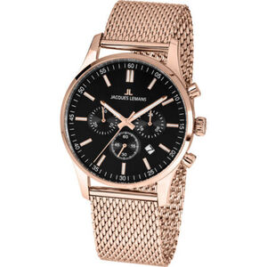"Jacques Lemans Herren Chronograph London ""1-2025I"", roségold / schwarz"