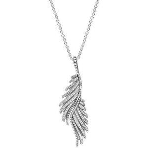 """Pandora Kette mit Anhänger Schimmernde Phoenixfeder """"390373CZ"""", 925er Silber"""
