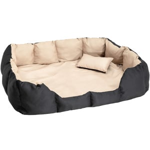 Hundebett mit Decke und Kissen 110 x 90 cm schwarz/beige
