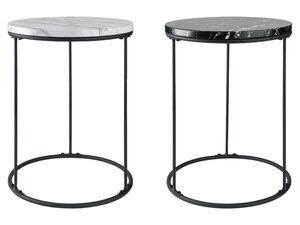 LIVARNO LIVING® Beistelltisch, Tischplatte in Marmor-Optik, mit pulverbeschichtetem Stahl