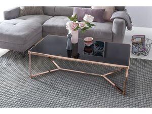 Wohnling Couchtisch Glas Schwarz / Kupfer 120 x 60 Wohnzimmertisch Loungetisch