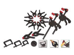 BRÜDER MANNESMANN Werkzeug-Set »M90317«, 16-teilig, enthält Zwingensatz und Klemmen
